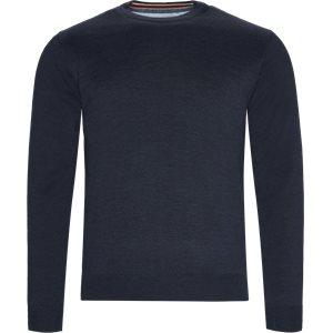 Brescia Crew Neck Strik Regular | Brescia Crew Neck Strik | Blå